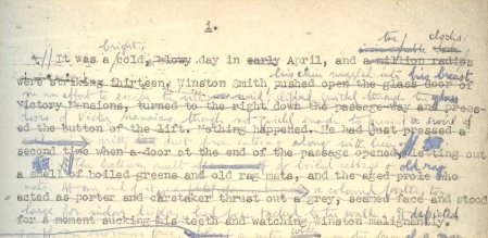 The draft opening of Orwell's novel