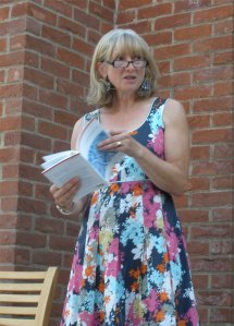 Jane Draycott at the launch of 'Over'